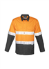 Syzmik Mens Hi Vis Spliced Rugged Shirt With 2 Ring Reflective Tape Long Sleeve