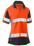 Bisley Ladies Polo Shirt VNeck Short Sleeve 100 Polyester Mesh with Perforated Reflective Tape