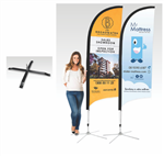 Bow Banner Large 4000mm H Cross Base Printed Double Sided