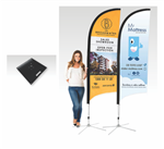 Bow Banner Large 4000mm H Heavy Duty Square Base 10kg Printed Double Sided
