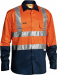 Bisley Cotton Drill Shirt Long Sleeve with Reflective Tape