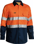 Bisley Cotton Drill Shirt Lightweight Long Sleeve with Gussetts 2 Ring Pattern Reflective Tape