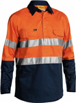 Bisley Cotton Drill Shirt Lightweight Closed Front Long Sleeve with Reflective Tape