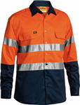 Bisley Cotton Drill Shirt with 2 Ring Pattern Reflective Tape