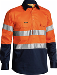 Bisley Cotton Drill Shirt Closed Front with 2 Ring Pattern Reflective Tape
